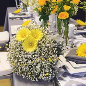 Gerber & Gypsophila Bouquet on Table