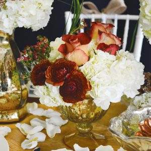 Tablescape Arrangement in Gold Bowl with Roses and Hydrangea