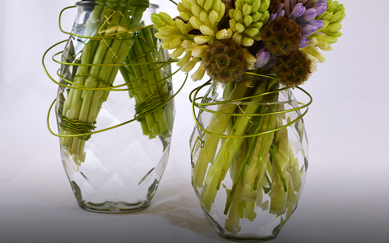 Pair of Brilliant Cut Clear Glass Vases